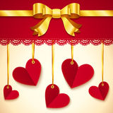 Valentine's day greeting card with hearts and bow Royalty Free Stock Photo