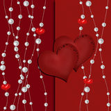 Valentine's Day greeting card with hearts on red Stock Image