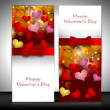 Valentine's Day greeting card with hearts and red ribbon. EPS 10. Love background Stock Image