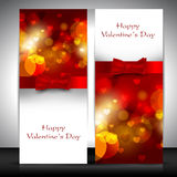 Valentine's Day greeting card with hearts and red ribbon. EPS 10. Love background Royalty Free Stock Images
