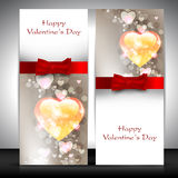 Valentine's Day greeting card with hearts and red ribbon. EPS 10. Love background Royalty Free Stock Photo