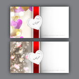 Valentine's Day greeting card with hearts and red ribbon. EPS 10. Love background Royalty Free Stock Image