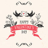 Valentine's day greeting card with lettering, ribbon, birds Royalty Free Stock Image