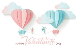Valentine`s day greeting card with lettering text happy valentines day and paper cut heart shape balloons with boy and girl are. Walking tightrope between stock illustration