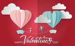 Valentine`s day greeting card with lettering text happy valentines day and young couple boy and girl meet each other on tightrope royalty free illustration