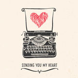 Valentine's day greeting card with lettering, typewriter, heart. And other decorative elements. Vector hand drawn illustration Stock Photo