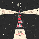 Valentine's day greeting card with lighthouse and lettering Stock Images