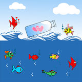 Valentine's day greeting card,love fish. Sending love fish 's heart in a closed bottle,love fish Royalty Free Stock Photo