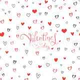 Valentine`s day greeting card with love hearts pattern Royalty Free Stock Photo