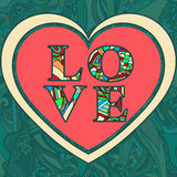 Valentine's Day greeting card. Love letters from colored patterned letters patterned heart on a green background Royalty Free Stock Image