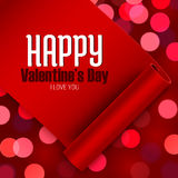 Valentine's Day greeting card, love message on red ribbon boken background Royalty Free Stock Image