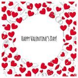 Valentine`s day greeting card. Doodle style. Valentine`s day greeting card. Love symbols icons background. Doodle style Stock Images