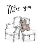 Valentine's day greeting card. Miss you card with bear Royalty Free Stock Photos