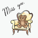 Valentine's day greeting card. Miss you card with bear Stock Images