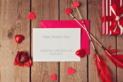 Valentine's Day greeting card mock up Royalty Free Stock Photos