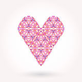 Valentine's Day greeting card. Modern ornamented flat styled heart Royalty Free Stock Photo