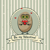 Valentine's day greeting card with owls. Vector Stock Photos