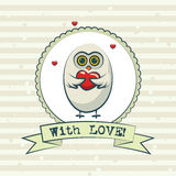 Valentine's day greeting card with owls. Vector Royalty Free Stock Images