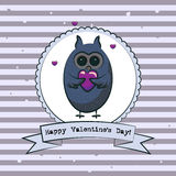 Valentine's day greeting card with owls. Vector Royalty Free Stock Image
