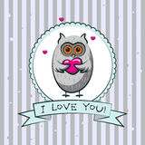 Valentine's day greeting card with owls. Vector Royalty Free Stock Photos