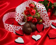 Valentine`s day greeting card in red with cakes. flowers Royalty Free Stock Photography