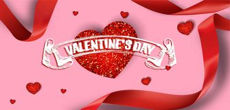 Valentine`s Day  greeting card with red hearts and ribbons. Vector illustration Stock Image