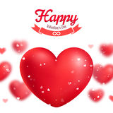 Valentine's day greeting card, red realistic hearts Royalty Free Stock Images