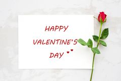 Valentine`s day greeting card and red rose on white marble backg Royalty Free Stock Photography