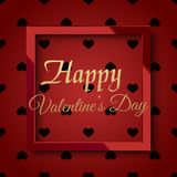 Valentine`s day greeting card with red square frame and black hearts. Vector stock illustration
