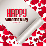 Valentine's day greeting card, ribbon with greeting and red paper hearts, vector illustration Stock Image