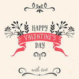 Valentine's day greeting card with ribbon, lettering Royalty Free Stock Photography