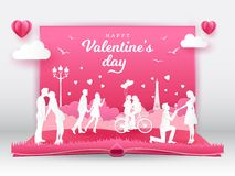 Valentine`s Day greeting card with romantic couples in love vector illustration