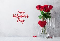Valentine`s day greeting card with roses stock photos
