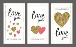 Valentine`s day greeting card set. Gold and pink colors. Love yo. U. Glitter texture. Hand drawn heart. Design for wedding. February 14 royalty free illustration