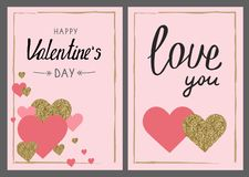 Valentine`s day greeting card set. Gold and pink colors. Love yo. U. Glitter texture. Hand drawn heart. Design for wedding. February 14 vector illustration