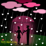Valentine's Day greeting card. Silhouette couple love with umbrella standing under the rain at night, illustration Royalty Free Stock Images