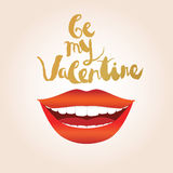 Valentine's day greeting card. Smiling woman with red lips and white teeth lips Stock Photography