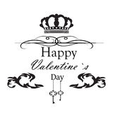 Valentine`s day greeting card. Template in black and white colors royalty free illustration