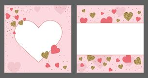 Valentine`s day greeting card template. Gold and pink colors. Gl. Itter frame. Hand drawn heart. Design for wedding. February 14 royalty free illustration