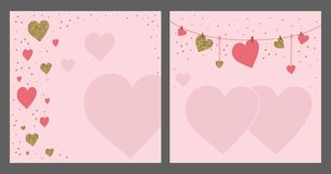 Valentine`s day greeting card template. Gold and pink colors. Gl. Itter frame. Hand drawn heart. Design for wedding. February 14 stock illustration