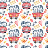 Valentine`s Day greeting card template, seamless pattern Royalty Free Stock Images