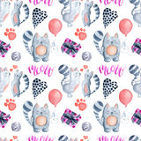 Valentine`s Day greeting card template, seamless pattern Stock Photos