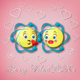 Valentine`s day greeting card template with two kissing atom emoticons and text Be my Valentine on pink background. Cartoon style vevtor illustration Royalty Free Stock Photo
