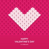 Valentine`s Day greeting card template. White heart on pink background. Images for your design projects Stock Photography