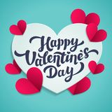 Valentine s Day greeting card. 14th of february. Happy Valentines Day Lettering with cut paper hearts on blue background. Abstract background. Vector royalty free illustration