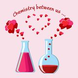 Valentine`s Day greeting card with two chemical flasks with love potions and evaporating hearts, and text. Valentine`s Day greeting card with two chemical Stock Photography