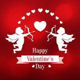 Paper cupids and hearts on a red background Royalty Free Stock Photos