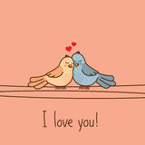 Valentine`s Day greeting card with two cute cartoon love birds Royalty Free Stock Photos