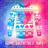Valentine's day greeting card. Warm sweater with owls and hearts. In polygonal style. Pink-Blue version. May be used for winter design, valentine's day greeting Stock Photos