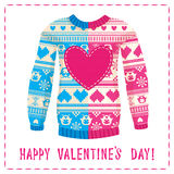 Valentine's day greeting card. Warm sweater with owls and hearts. Pink-Blue version. May be used for winter design, valentine's day greeting cards, posters and Stock Photos